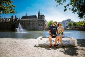 Couple using Solar Bench